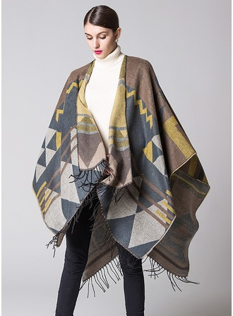 Geometric Print Oversized/Cold weather Acrylic Poncho