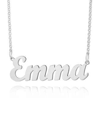 Custom Silver Letter Name Necklace - Valentines Gifts