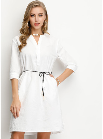 Polyester/Cotton With Button Knee Length Dress