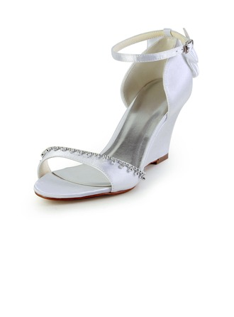 Women's Satin Wedge Heel Sandals Wedges With Bowknot Rhinestone