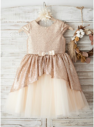 Knee-length Flower Girl Dress - Tulle Sequined Sleeveless Scoop Neck With Bow(s)