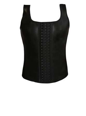 Men's Black Rubber Front Busk Closure Vest