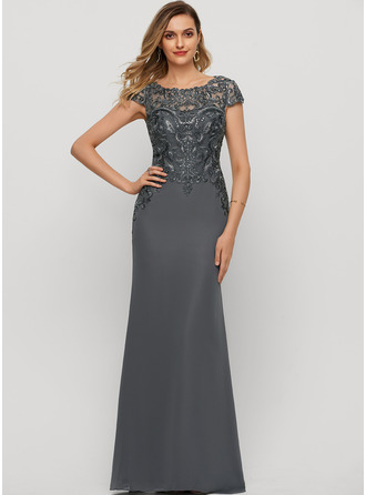 Sheath/Column Scoop Neck Floor-Length Chiffon Evening Dress With Sequins