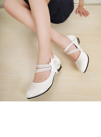 Girl's Patent Leather Flat Heel Closed Toe Flats With Bowknot Rhinestone