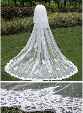 Three-tier Lace Applique Edge Cathedral Bridal Veils With Applique/Lace