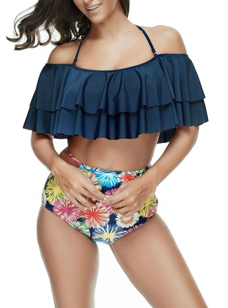 Beautiful Floral Print Polyester Bikinis Swimsuit