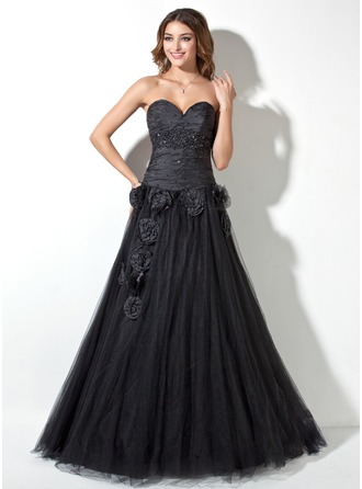 A-Line/Princess Sweetheart Floor-Length Tulle Prom Dress With Ruffle Beading Flower(s)