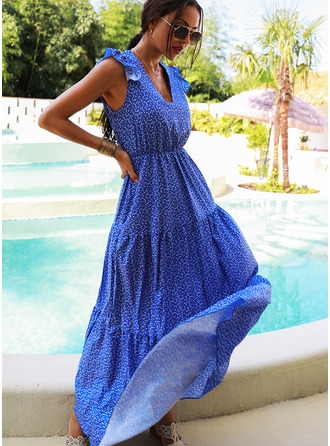 Print A-line V-Neck Cap Sleeve Maxi Casual Vacation Skater Dresses