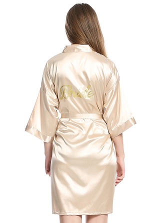 Personalized Charmeuse Bride Bridesmaid Glitter Print Robes