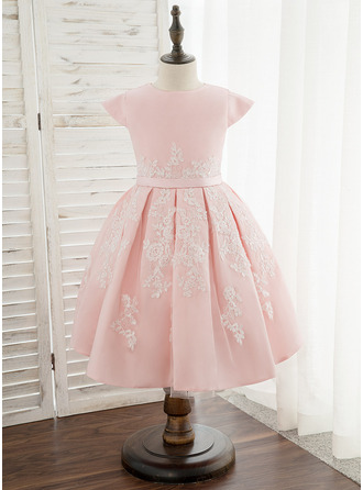 Po kolena Flower Girl Dress - Satén Krajka Bez rukávů Scoop Neck