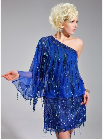 Sheath/Column One-Shoulder Short/Mini Chiffon Sequined Cocktail Dress With Beading