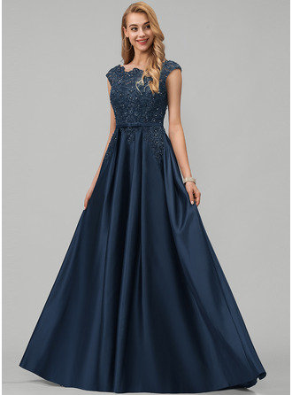 Scoop Neck Floor-Length Satin Prom Dresses With Lace Beading Sequins Bow(s) Pockets
