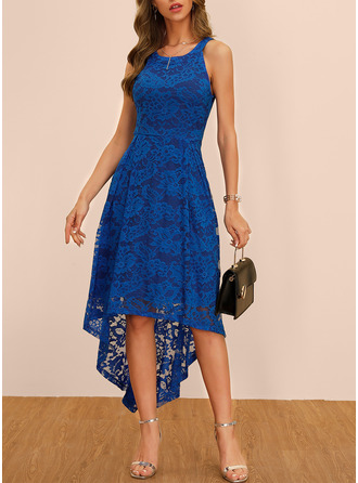 Polyester With Lace/Solid Asymmetrical Dress