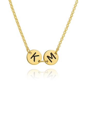Custom 18k Gold Plated Silver Engraving/Engraved Two Initial Necklace