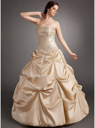 Ball-Gown Strapless Floor-Length Taffeta Quinceanera Dress With Ruffle Beading Appliques Lace