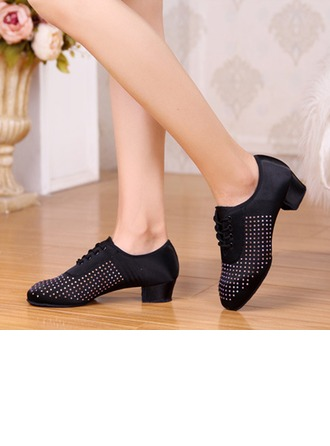 Women's Satin Heels Pumps Swing Practice With Rhinestone Dance Shoes