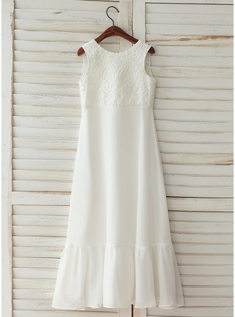 Floor-length Flower Girl Dress - Chiffon Satin Lace Sleeveless Scoop Neck With V Back