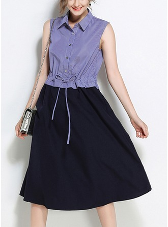 Cotton Blends With Bowknot/Stitching Midi Dress