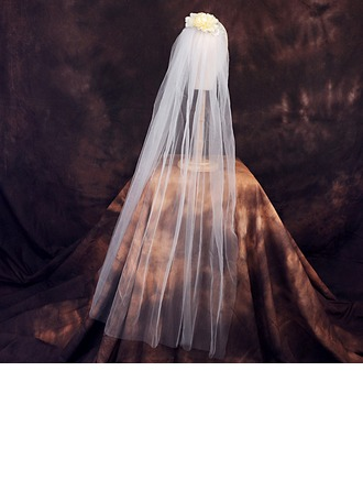 One-tier Cut Edge Elbow Bridal Veils With Rhinestones/Satin Flower/Faux Pearl
