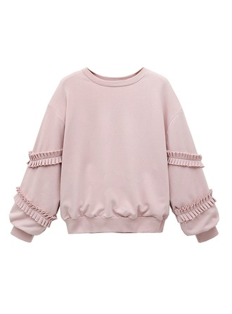 Couleur unie Mélange de coton Sweat-shirts Sweat-shirts