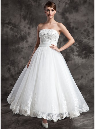 a lineprincess strapless ankle length satin organza wedding dress with lace beading
