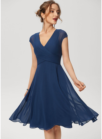 A-Line Knee-Length Chiffon Cocktail Dress With Ruffle