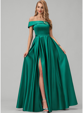 A-Line Off-the-Shoulder Floor-Length Satin Evening Dress With Split Front Pockets