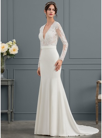 Trumpet/Mermaid V-neck Court Train Satin Wedding Dress With Beading Sequins