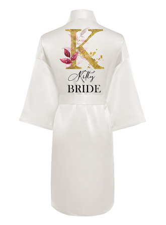 Personalized Polyester Bride Bridesmaid Mom Flower Girl Junior Bridesmaid Print Robes