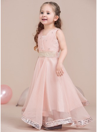 A-Line/Princess V-neck Floor-Length Tulle Junior Bridesmaid Dress With Ruffle Lace Beading Sequins Bow(s)