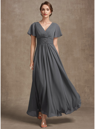 A-Line V-neck Ankle-Length Chiffon Cocktail Dress With Ruffle Beading