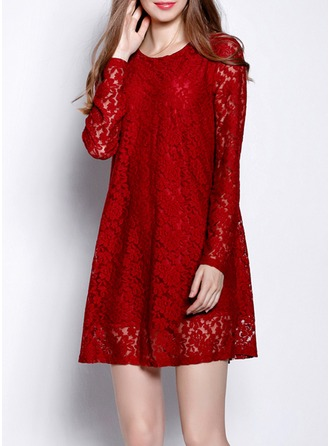 Chinlon With Lace Above Knee Dress