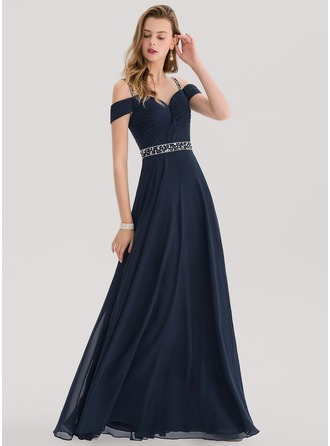 Sweetheart Floor-Length Chiffon Prom Dresses With Beading Sequins