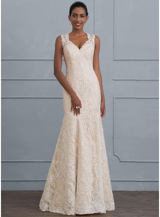 Trumpet/Mermaid V-neck Floor-Length Lace Wedding Dress