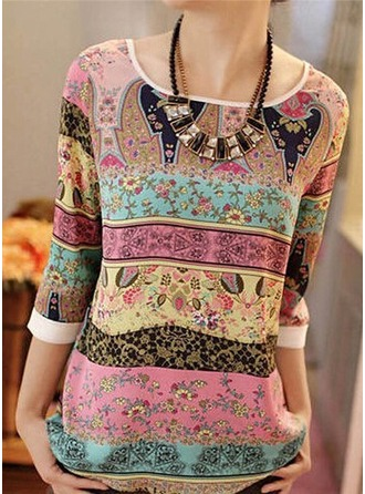 Print 1/2 Sleeves Cotton Blends Round Neck Casual Blouses Bluzlar