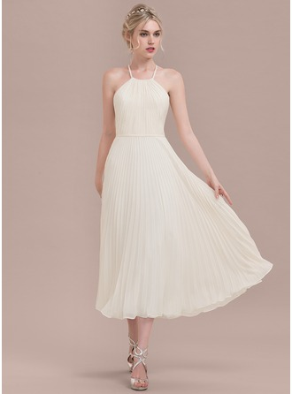 Scoop Neck Tea-Length Chiffon Bridesmaid Dress With Pleated