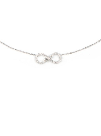 Silver Cubic Zirconia Infinity Pendant Necklace For Mother/Mom For Girlfriend