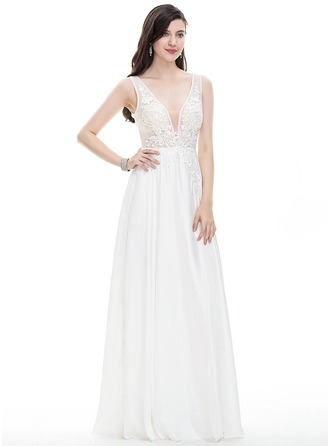 A-Line/Princess V-neck Floor-Length Satin Chiffon Wedding Dress With Beading Sequins