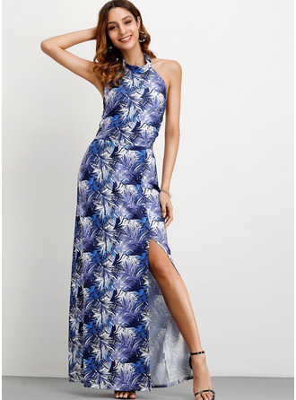 Cotton With Print/Slit Maxi Dress