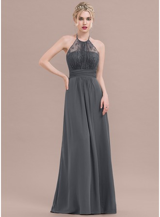 A-Line/Princess Halter Floor-Length Chiffon Lace Evening Dress With Ruffle Bow(s)