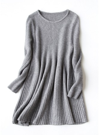 Plain Knit Crew Neck Sweater Sweaters