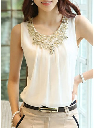 Plain Sleeveless Chiffon Round Neck Casual Blouses Blouses