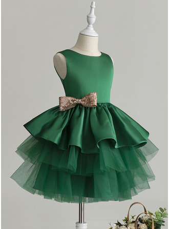 Ball-Gown/Princess Knee-length Flower Girl Dress - Tulle Sleeveless Scoop Neck With Ruffles Bow(s)