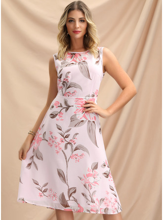 Round Neck Sleeveless Midi Dresses