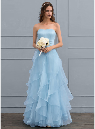 A-Line/Princess Sweetheart Floor-Length Organza Wedding Dress With Cascading Ruffles