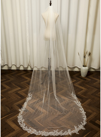 One-tier Cut Edge Chapel Bridal Veils With Applique/Sequin