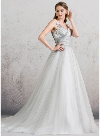 Ball-Gown V-neck Cathedral Train Tulle Wedding Dress With Ruffle Lace
