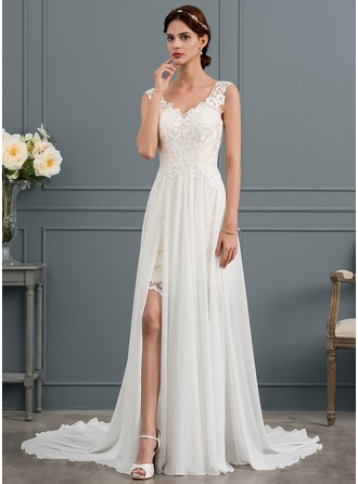 V-neck Court Train Chiffon Wedding Dress With Split Front
