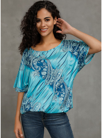 Short Sleeves Polyester Round Neck Bluzlar