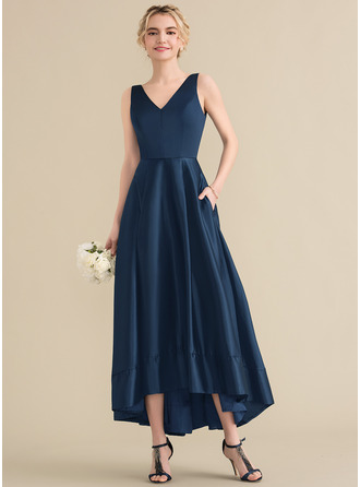 V-neck Asymmetrical Satin Prom Dresses With Pockets